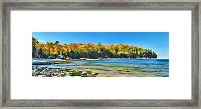 Door County Wisconsin Bay Panorama Framed Print by Christopher Arndt