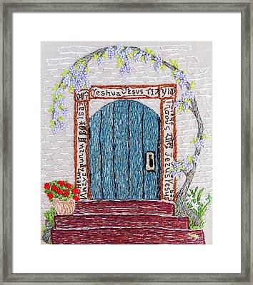Door With Many Languages Framed Print by Stephanie Callsen