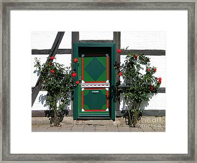 Door With Roses Framed Print by Art Photography