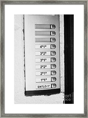 Doorbells And Apartment Buzzers In An Old House In Tarragona Catalonia Spain Framed Print by Joe Fox