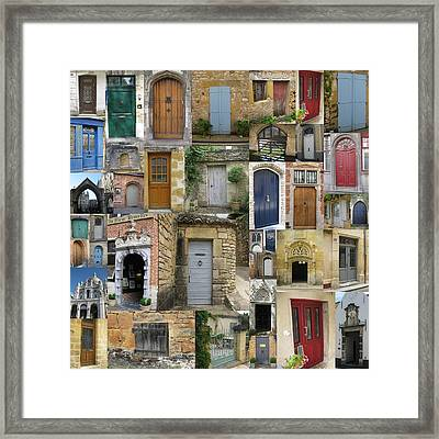 Doors Collage Framed Print by Cathy Jacobs