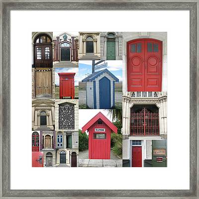 doors in New Zealand Framed Print by Cathy Jacobs