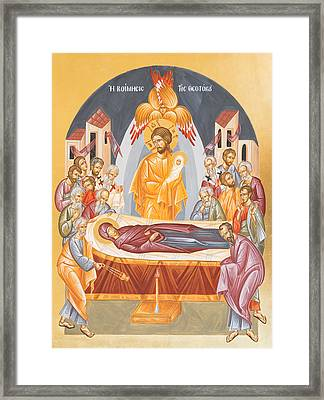 Dormition Of The Theotokos Framed Print by Julia Bridget Hayes