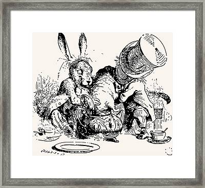 Dormouse In The Teapot Mad Tea Party Framed Print by John Tenniel