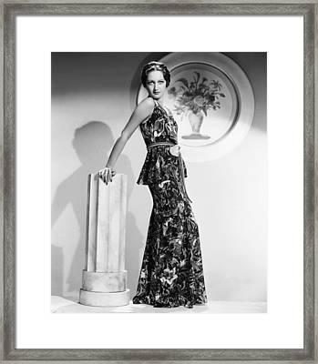 Dorothy Lamour, Modeling A Crepe Floral Framed Print by Everett
