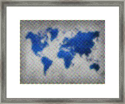 Dotted Blue World Map Framed Print by Naxart Studio