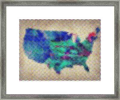Dotted Usa Map Framed Print by Naxart Studio