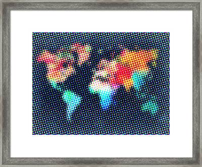 Dotted World Map 1 Framed Print by Naxart Studio