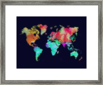 Dotted World Map 3 Framed Print by Naxart Studio