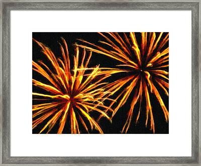 Double Burst Fireworks Framed Print by F Leblanc