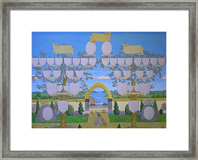 Double Family Tree Chart Mediterranean Garden Framed Print by Alix Mordant