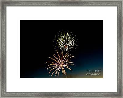 Double Fireworks Blast Framed Print by Robert Bales