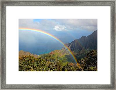 Double Rainbow In Paradise Framed Print by Tracey Rabjohns