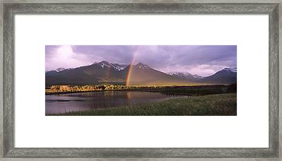 Double Rainbow Over Mountain Range Framed Print by Panoramic Images