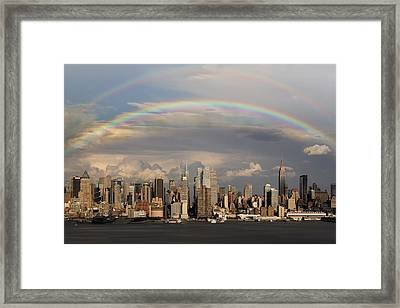 Double Rainbow Over Nyc Framed Print by Susan Candelario