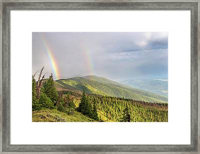 Double Rainbow Over The Whitefish Range Framed Print by Chuck Haney