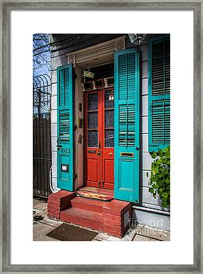 Double Red Door Framed Print by Perry Webster