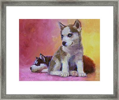 Double Trouble - Alaskan Husky Sled Dog Puppies Framed Print by Karen Whitworth
