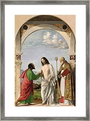 Doubting Thomas With St. Magnus Framed Print by Giovanni Battista Cima da Conegliano