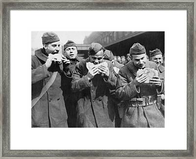 Doughboys Eating Pies Again Framed Print by Underwood Archives