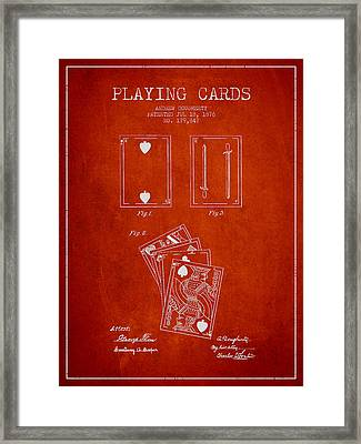 Dougherty Playing Cards Patent Drawing From 1876 - Red Framed Print by Aged Pixel