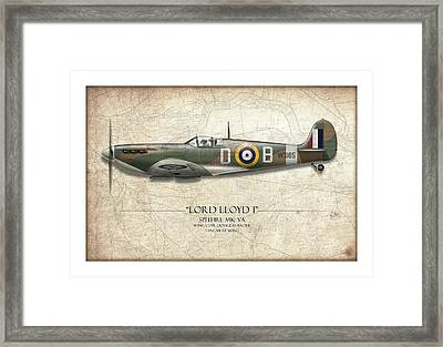 Douglas Bader Spitfire - Map Background Framed Print by Craig Tinder