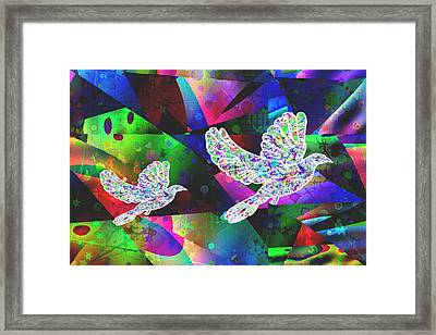 Dove-freedom And Peace Framed Print by Govindji Patel