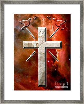 Doves And Stone Cross Framed Print by Phill Petrovic