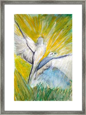 Doves At Sunrise Framed Print by Linda Waidelich