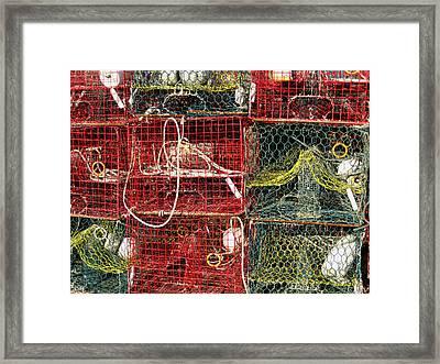 Down East Crab Pots Framed Print by Karen Rhodes