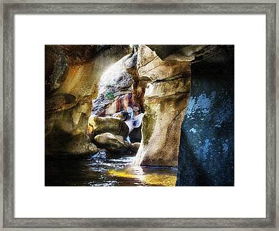 Down In The Gorge At Screw Auger Falls Grafton Notch Framed Print by Joy Nichols