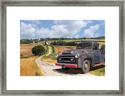 Down On The Farm - International Harvester S-100 Framed Print by Gill Billington