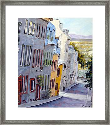 Down The Hill Old Quebec City Framed Print by Richard T Pranke