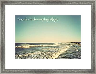 Down The Shore Seaside Heights Vintage Quote Framed Print by Terry DeLuco