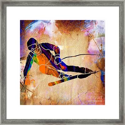 Downhill Racer Framed Print by Marvin Blaine