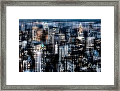 Downtown At Night Framed Print by Hannes Cmarits