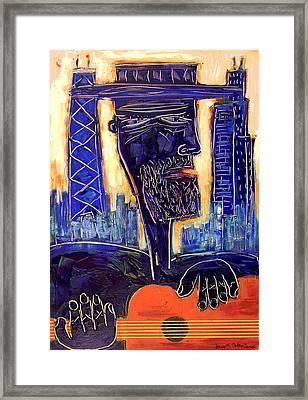 Downtown Chicago Blues - Chicago Skyline Art Framed Print by Joseph Catanzaro