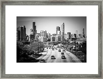 Downtown Chicago Lake Shore Drive In Black And White Framed Print by Paul Velgos