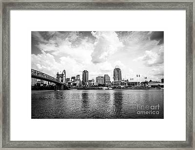 Downtown Cincinnati Skyline Black And White Picture Framed Print by Paul Velgos