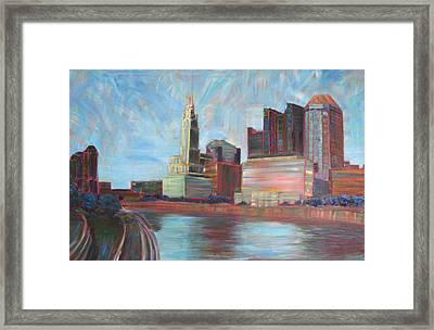 Downtown Columbus Framed Print by Robie Benve
