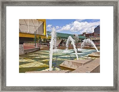 Downtown Fountain Tacoma Washington. Framed Print by Gino Rigucci