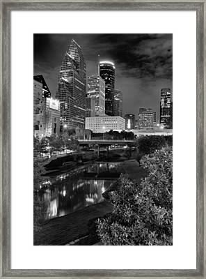 Downtown Houston At Night. Framed Print by Silvio Ligutti