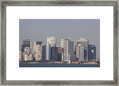 Downtown Manhattan Shot From The Staten Island Ferry Framed Print by John Telfer