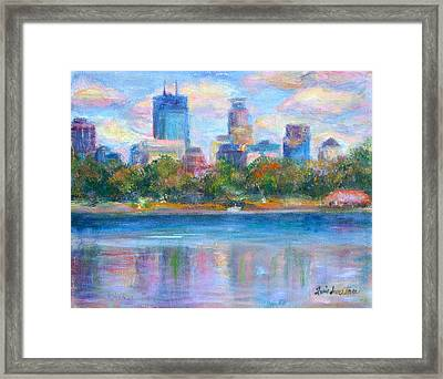 Downtown Minneapolis Skyline From Lake Calhoun Framed Print by Quin Sweetman