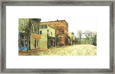 Downtown Newago Michigan Framed Print by Rosemarie E Seppala