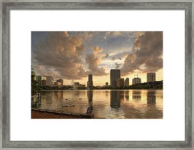 Downtown Orlando Skyline Lake Eola Sunset II Framed Print by Silvio Ligutti