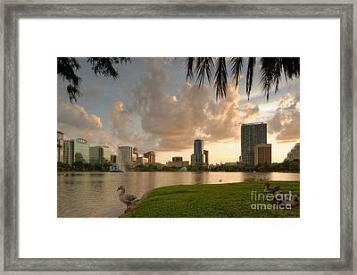 Downtown Orlando Skyline Lake Eola Sunset Framed Print by Silvio Ligutti