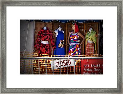 Downtown Outdoor Clothing Display Framed Print by Randall Nyhof