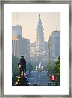 Downtown Philadelphia - Benjamin Franklin Parkway Framed Print by Bill Cannon
