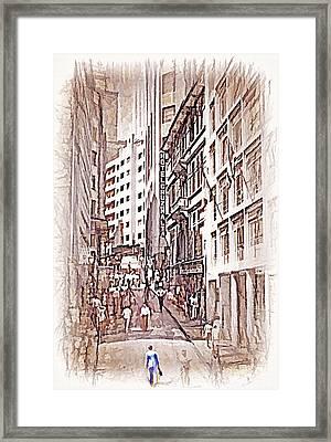 Downtown Sao Paulo Brazil 9 - 1982 - Topaz  Framed Print by Steve Ohlsen